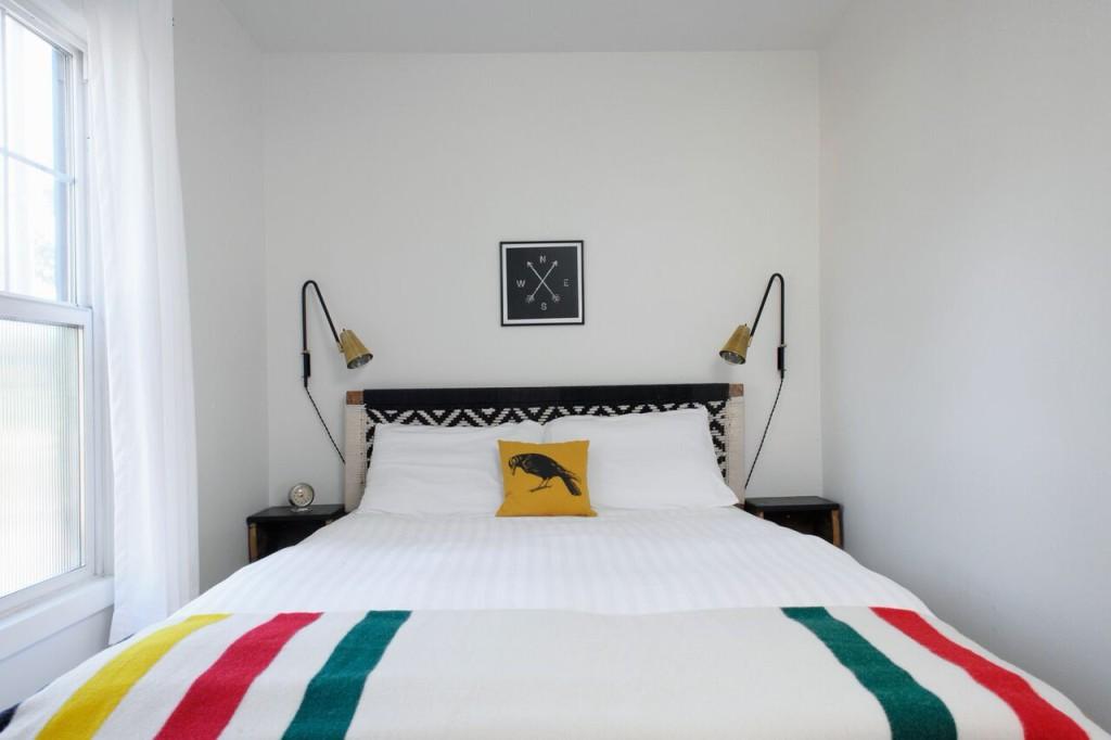 Sarah Phipps bedroom striped blanket