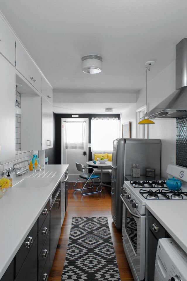 galley kitchen Sarah Phipps Design grey smeg refridgerator